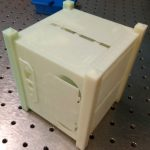 "3D printed ""CubeSat"" miniaturized satellite model"